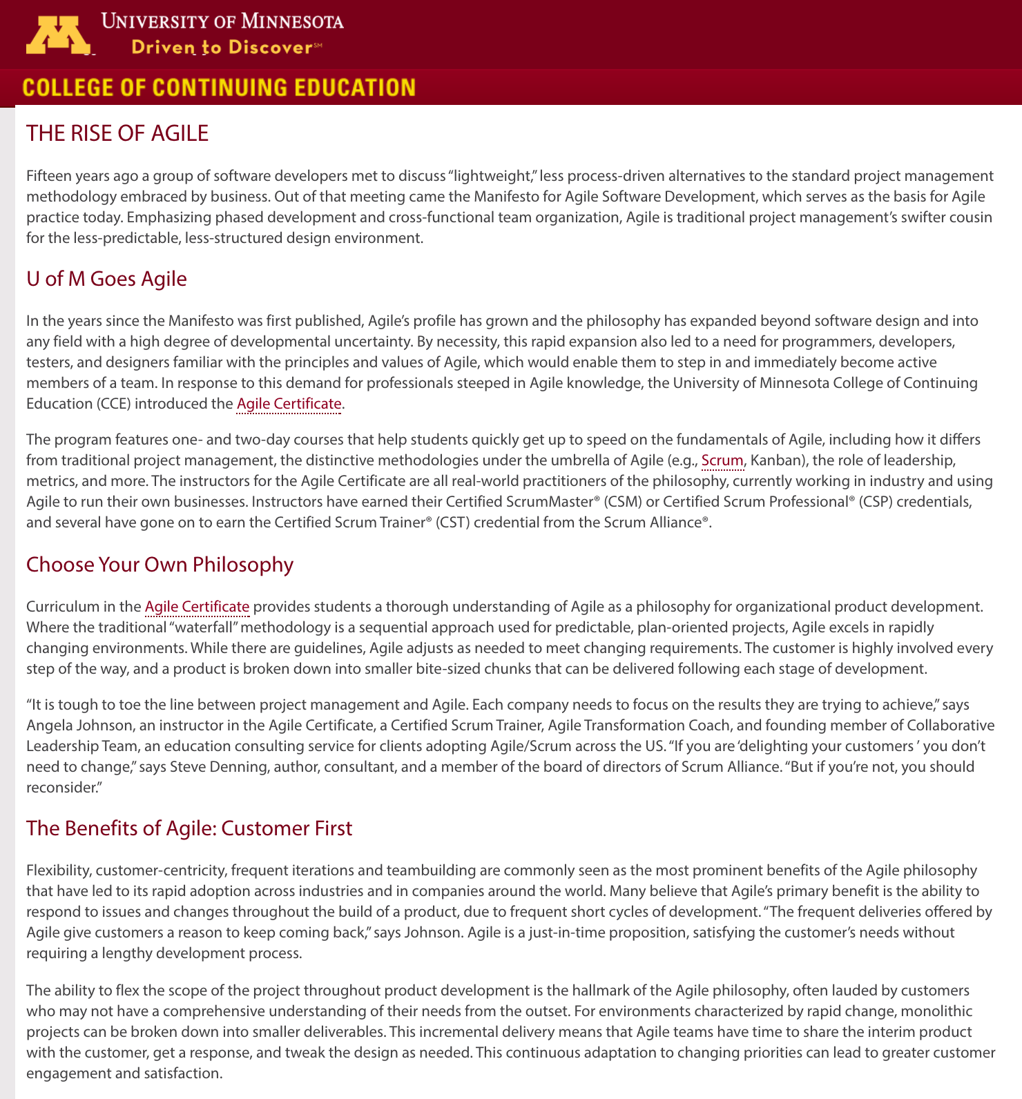 College of Continuing Education - University of Minnesota