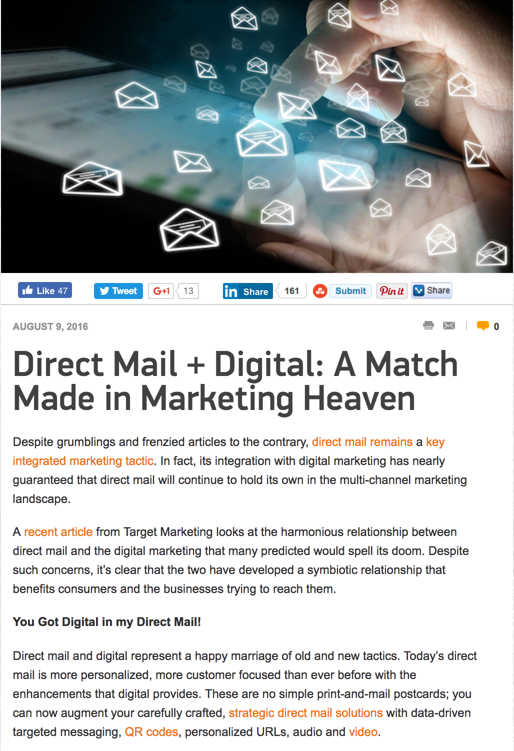 Direct Mail and Digital - Marketing Tango
